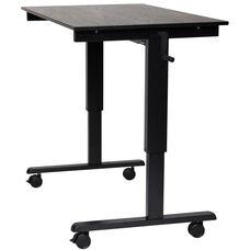 Adjustable Height Black Steel Frame Standing Desk with Crank Handle - Black Oak Top - 47.25