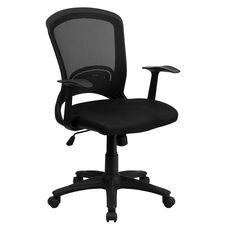 Mid-Back Designer Black Mesh Swivel Task Office Chair with Arms