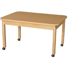 Mobile Rectangular High Pressure Laminate Table with Hardwood Legs - 44