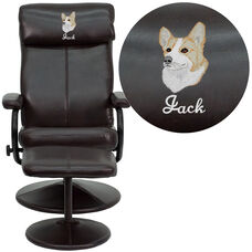 Embroidered Contemporary Multi-Position Headrest Recliner and Ottoman with Wrapped Base in Brown Leather