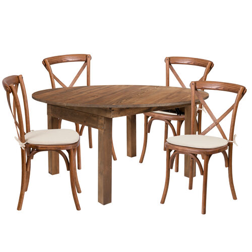 Our HERCULES Series 5-Foot Round Solid Pine Folding Farm Dining Table Set with 4 Cross Back Chairs and Cushions is on sale now.