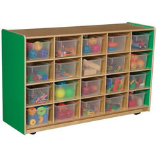 Wooden Mobile Storage Unit with 20 Clear Plastic Trays - Green Apple - 48