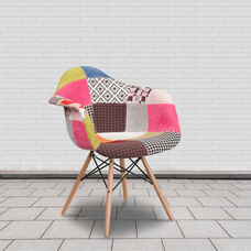 Alonza Series Milan Patchwork Fabric Chair with Wooden Legs