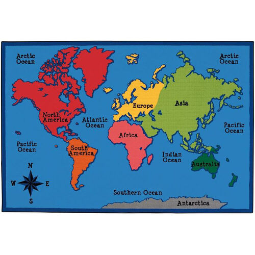 Kids Value World Map Rectangular Nylon Rug - 48