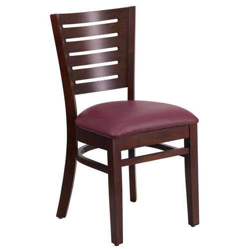 Our Walnut Finished Slat Back Wooden Restaurant Chair with Burgundy Vinyl Seat is on sale now.