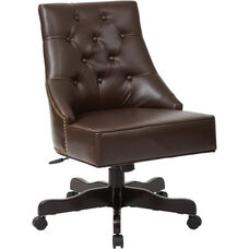 Inspired By Bassett Rebecca Bonded Leather Tufted Back Office Chair with Nailheads - Cocoa