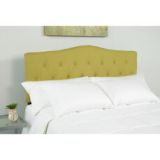 Cambridge Tufted Upholstered Queen Size Headboard in Green Fabric