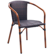 Cafe Collection Arm Chair with Woven Back and Seat - Safari