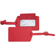 Luggage Tag - Top Grain Nappa Leather - Red