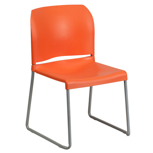 Our HERCULES Series 880 lb. Capacity Orange Full Back Contoured Stack Chair with Gray Powder Coated Sled Base is on sale now.
