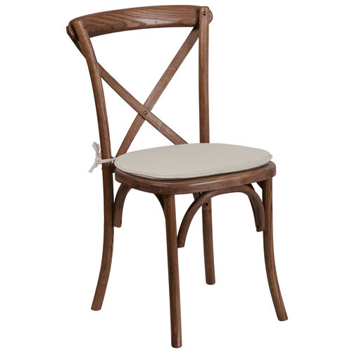 Our HERCULES Series Stackable Pecan Wood Cross Back Chair with Cushion is on sale now.