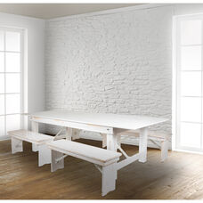 "HERCULES Series 8' x 40"" Antique Rustic White Folding Farm Table and Four 40.25""L Bench Set"