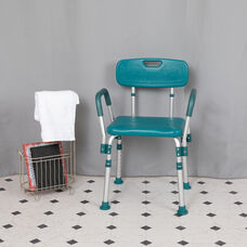 HERCULES Series 300 Lb. Capacity Adjustable Teal Bath & Shower Chair with Quick Release Back & Arms