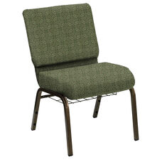 HERCULES Series 21''W Church Chair in Faith Herb Fabric with Book Rack - Gold Vein Frame