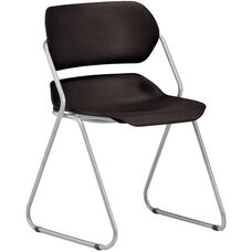 Martisa Armless Plastic Stack Chair - Black Seat with Silver Frame