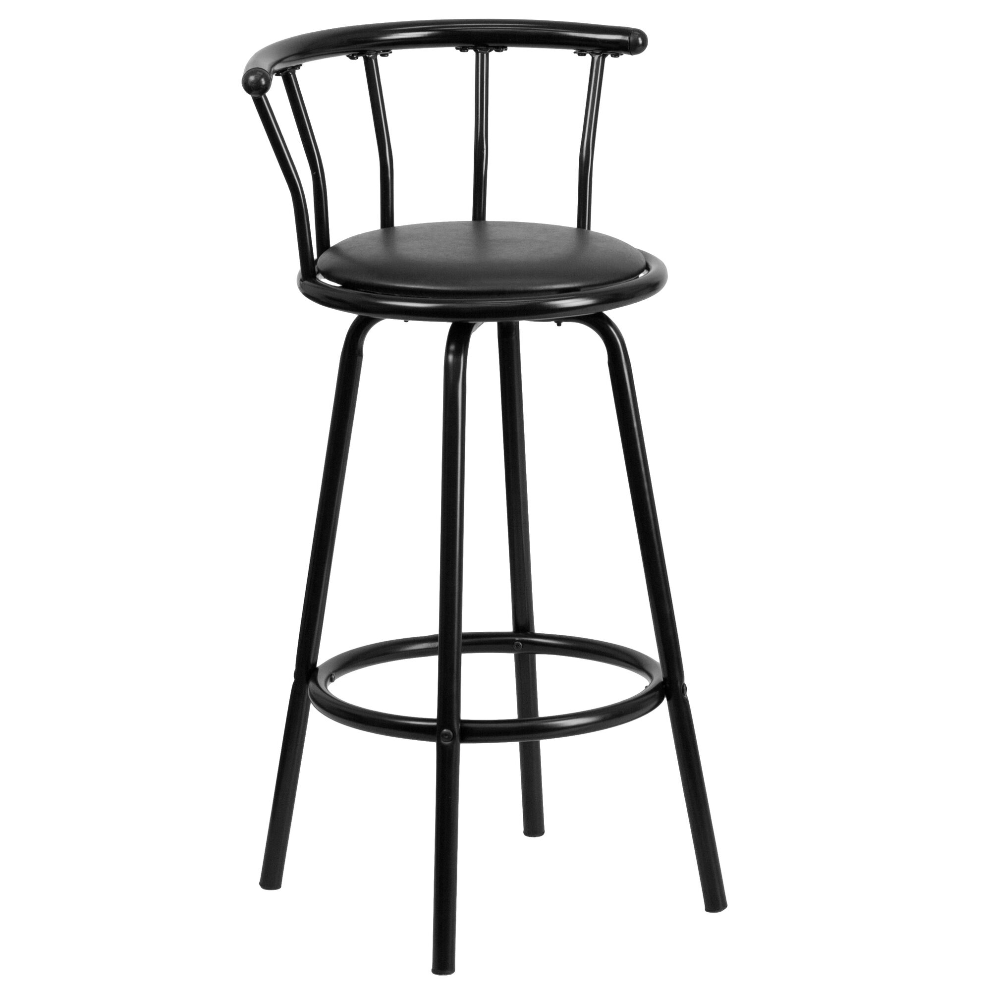 Superb Crown Back Black Metal Barstool With Black Vinyl Swivel Seat Machost Co Dining Chair Design Ideas Machostcouk