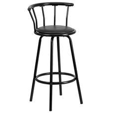 Crown Back Black Metal Barstool with Black Vinyl Swivel Seat