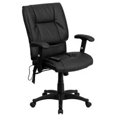 Mid-Back Ergonomic Massaging Black LeatherSoft Executive Swivel Office Chair with Adjustable Arms