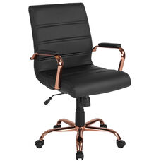 Mid-Back Black Leather Executive Swivel Chair with Rose Gold Frame and Arms