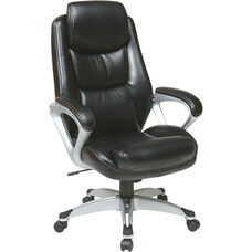 Work Smart Executive Eco Leather Chair with Padded Arms, Headrest, and Silver Coated Base - Black