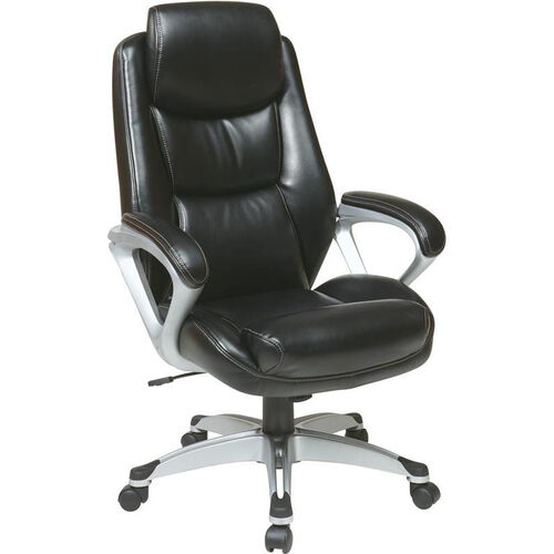 Our Work Smart Executive Eco Leather Chair with Padded Arms, Headrest, and Silver Coated Base - Black is on sale now.