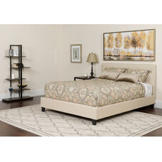 Chelsea Queen Size Upholstered Platform Bed in Beige Fabric with Memory Foam Mattress
