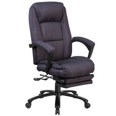 High Back Gray Fabric Executive Reclining Swivel Office Chair with Comfort Coil Seat Springs and Padded Arms