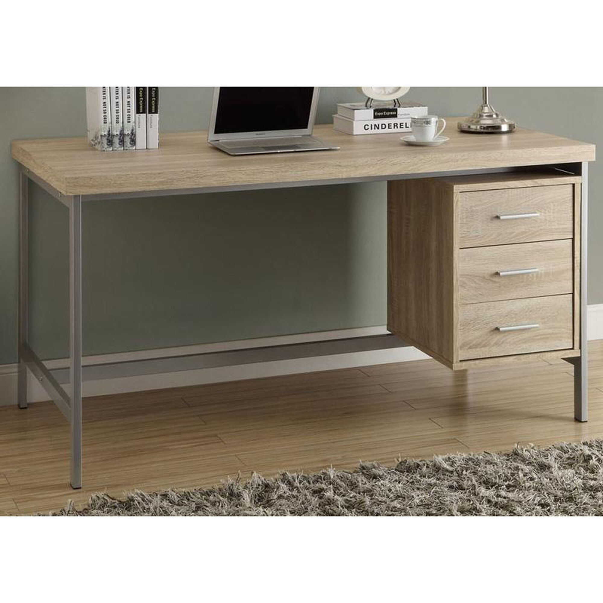 Traditional 60\'\'W Home Office Desk with Three Drawers - Natural