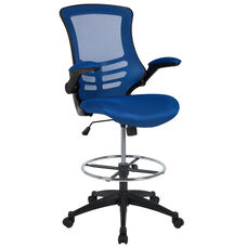 Mid-Back Blue Mesh Ergonomic Drafting Chair with Adjustable Foot Ring and Flip-Up Arms