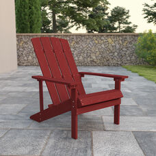 Charlestown All-Weather Poly Resin Wood Adirondack Chair in Red