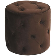 Ave Six Curves Button Tufted Round Ottoman - Chocolate Velvet