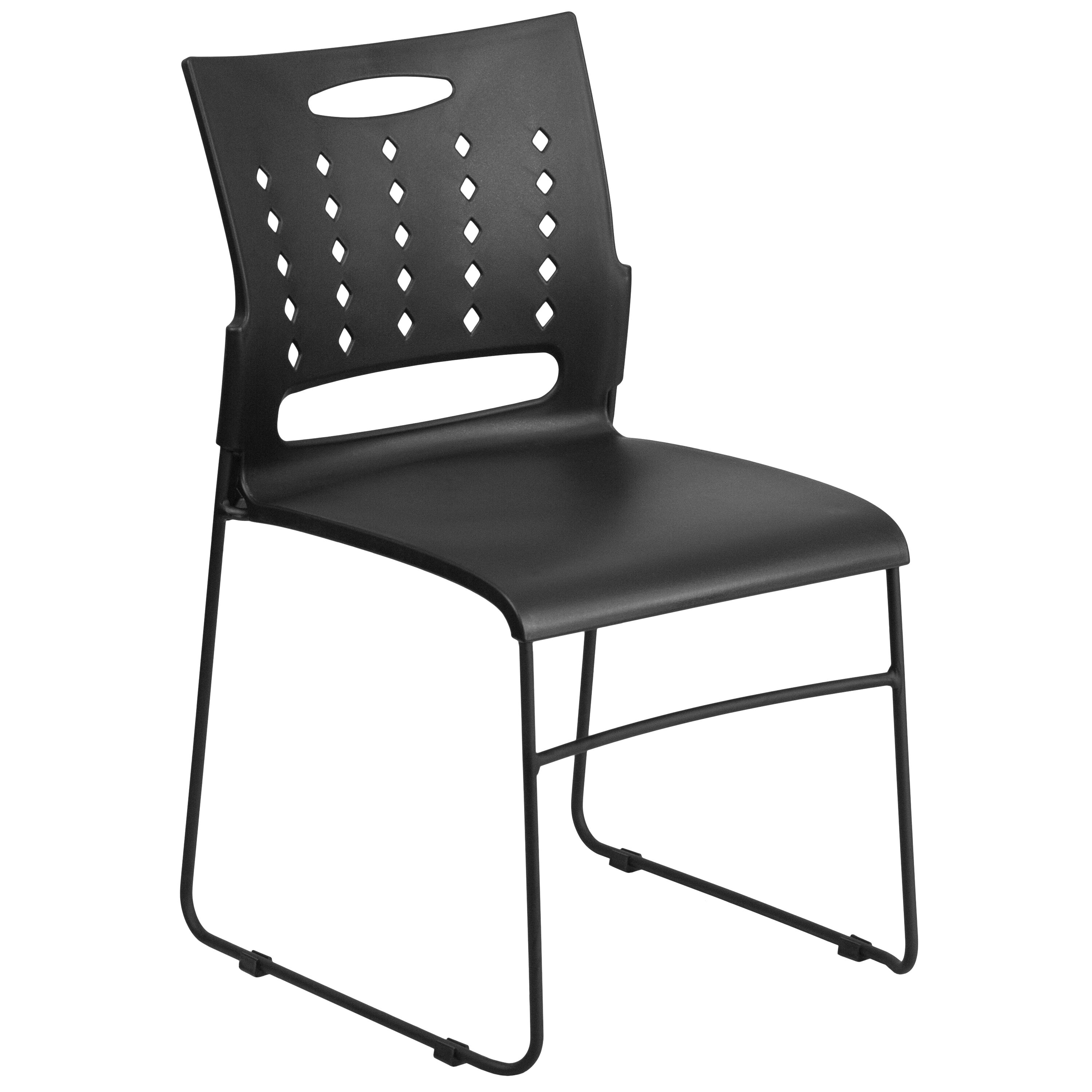 Capacity Black Sled Base Stack Chair With Air Vent Back