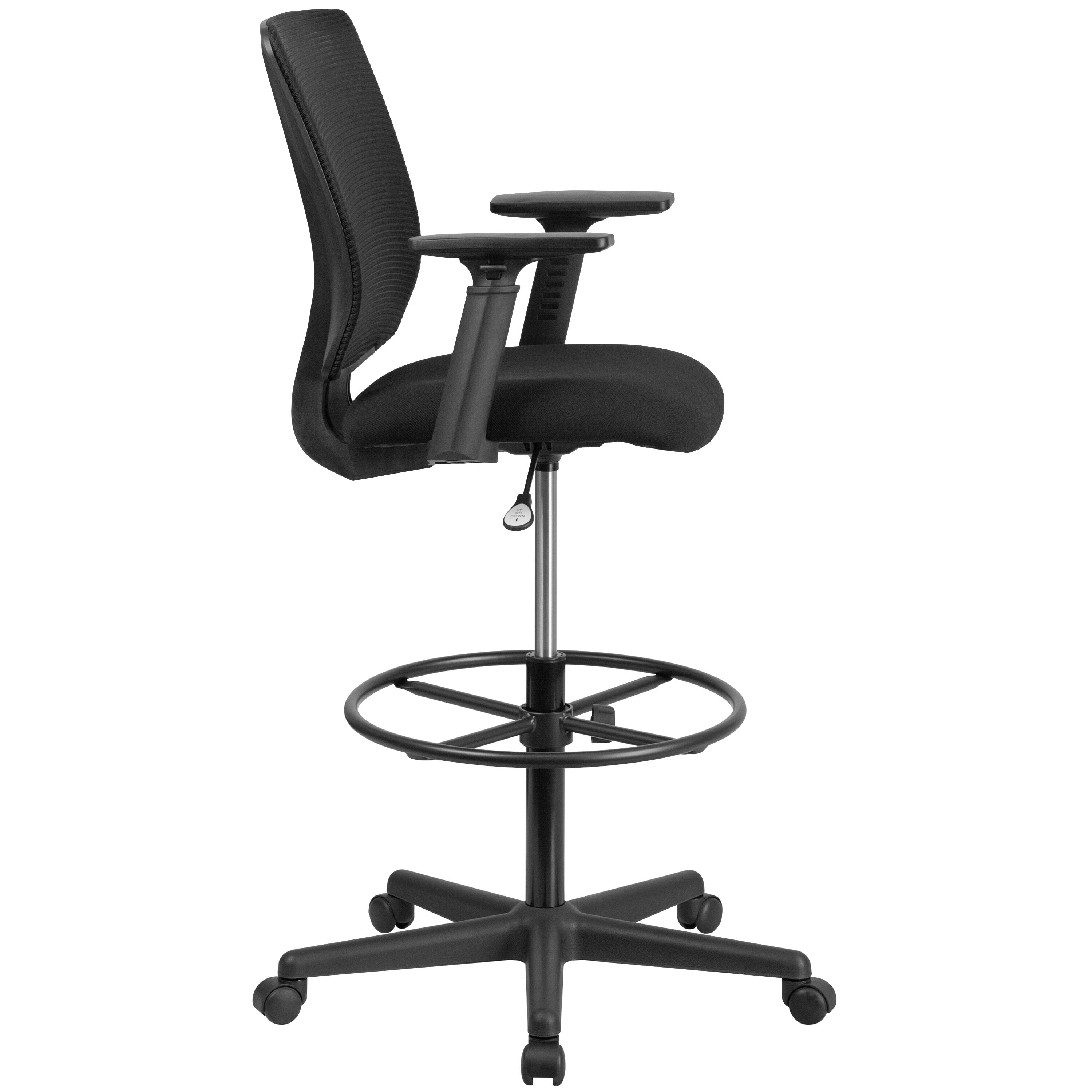 ... Our Ergonomic Mid Back Mesh Drafting Chair With Black Fabric Seat,  Adjustable Foot Ring ...