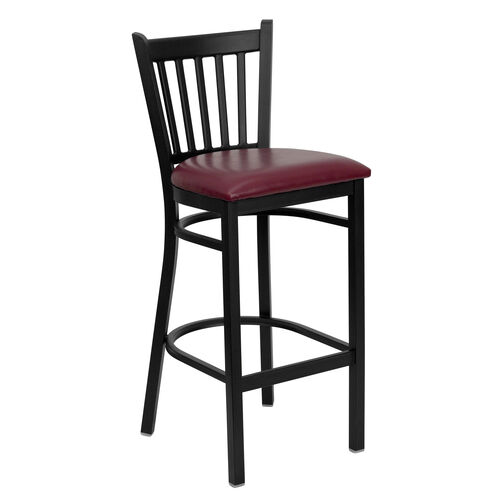 Our Black Vertical Back Metal Restaurant Barstool with Burgundy Vinyl Seat is on sale now.
