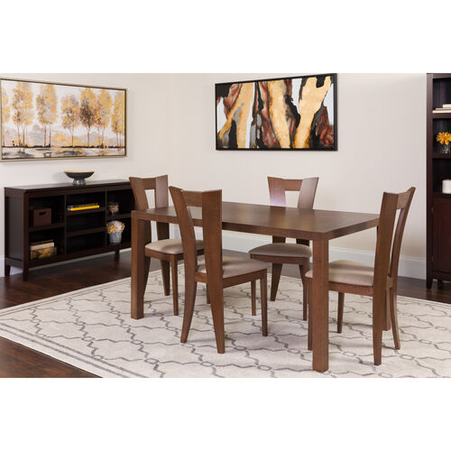 Our Ardley 5 Piece Walnut Wood Dining Table Set with Slotted Back Wood Dining Chairs - Padded Seats is on sale now.