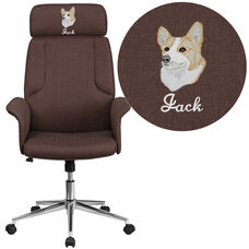 Embroidered High Back Brown Fabric Executive Swivel Chair with Chrome Base and Fully Upholstered Arms