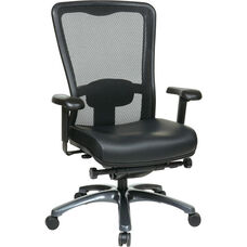 Pro-Line II ProGrid® Mesh High Back and Eco Leather Seat Task Chair with Titanium Base and Casters - Black