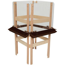 4-Sided Adjustable Art Easel with Acrylic Board and Brown Trays - 24