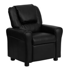 Contemporary Black LeatherSoft Kids Recliner with Cup Holder and Headrest