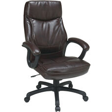 Work Smart Executive High-Back Eco-Leather Office Chair with Contrasting Stitch Pattern - Mocha