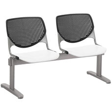 2300 KOOL Series Beam Seating with 2 Poly Black Perforated Back Seats and White Seats