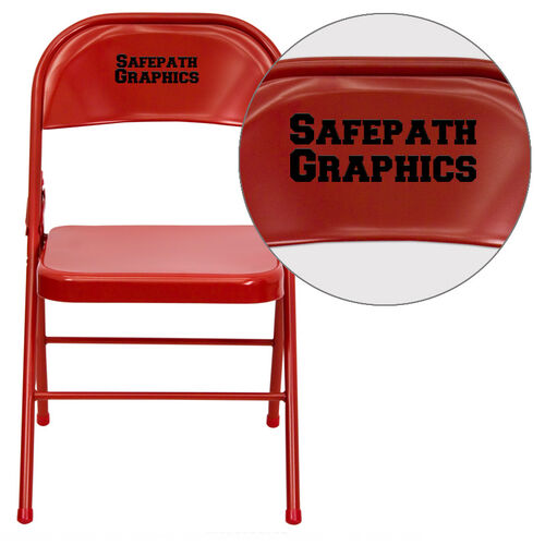 Our Personalized HERCULES Series Triple Braced & Double Hinged Red Metal Folding Chair is on sale now.