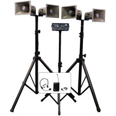 Deluxe Wireless Quad Horn Half-Mile 50 Watt Hailer Kit with Heavy Duty Tripods and Carrying Cases - 12.5