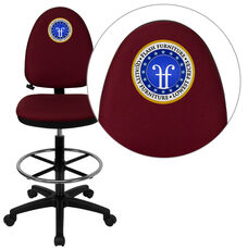 Embroidered Mid-Back Burgundy Fabric Multifunction Drafting Chair with Adjustable Lumbar Support