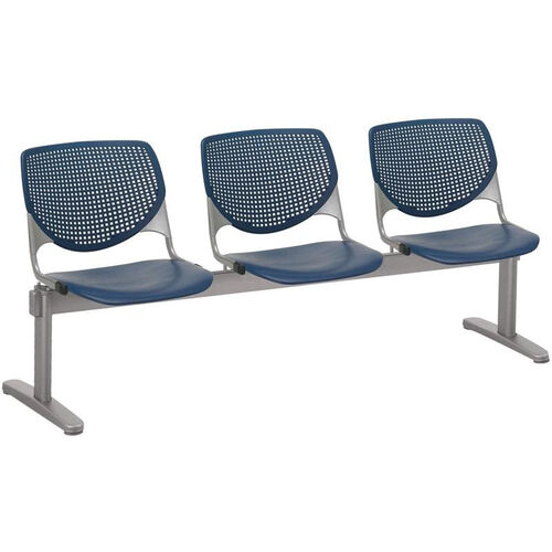 2300 KOOL Series Beam Seating with 3 Poly Perforated Back and Seats with Silver Frame - Navy