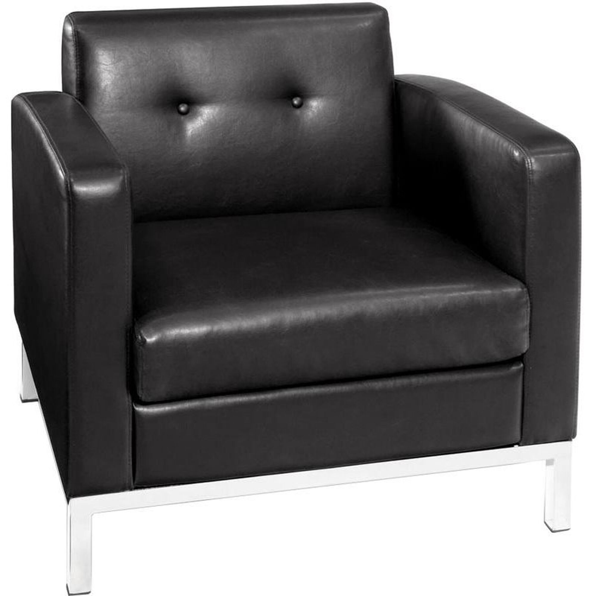 Our Ave Six Wall Street Faux Leather Arm Chair With Chrome