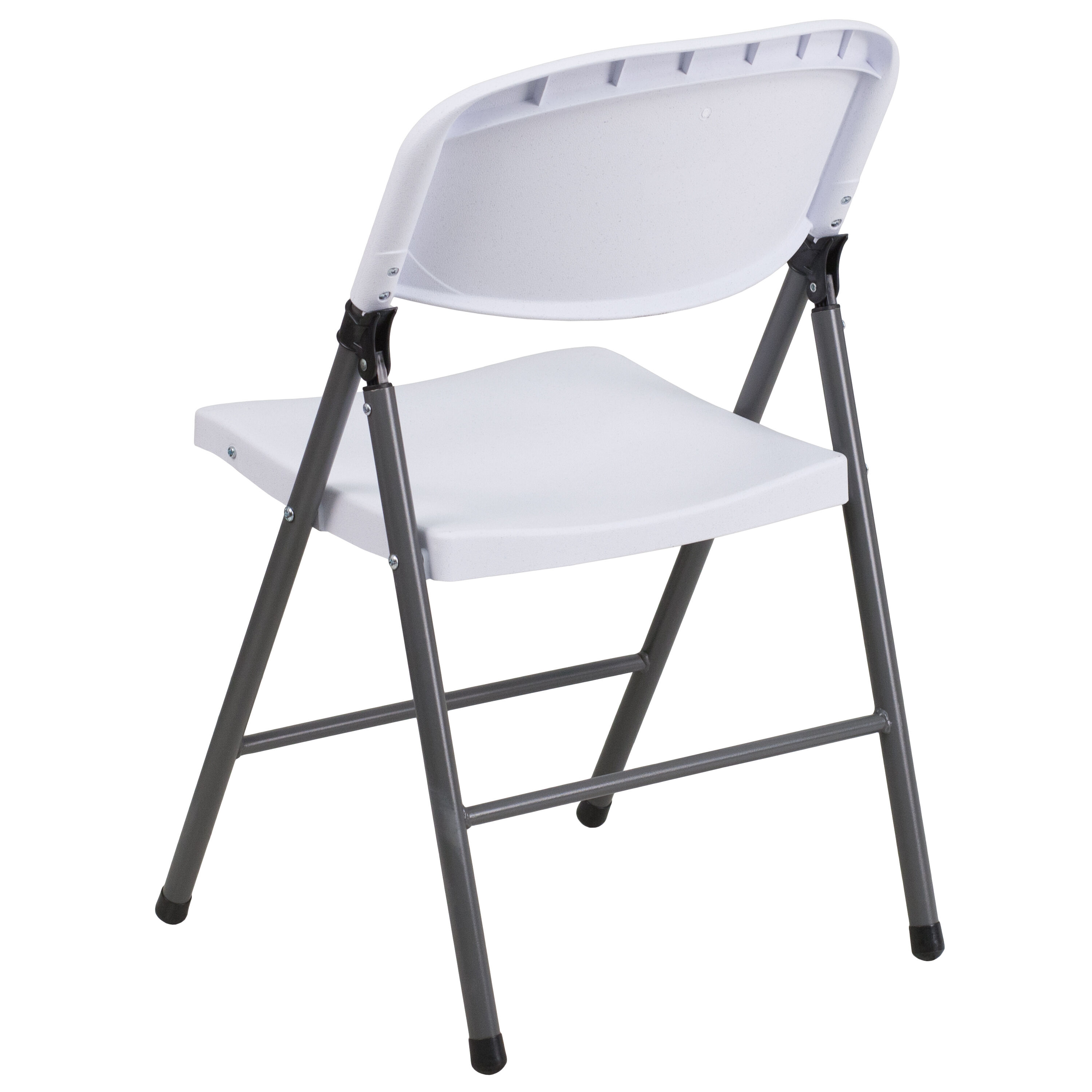 Capacity Granite White Plastic Folding Chair With Charcoal Frame Is ...