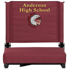 Embroidered Grandstand Comfort Seats by Flash with Ultra-Padded Seat in Maroon