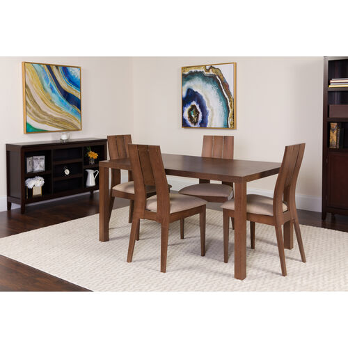 Our Dalston 5 Piece Walnut Wood Dining Table Set with Curved Slat Keyhole Back Wood Dining Chairs - Padded Seats is on sale now.