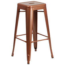"Commercial Grade 30"" High Backless Copper Indoor-Outdoor Barstool"